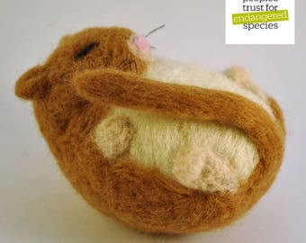 Handmade Needle Felt Sleeping Dormouse Sculpture - 10% goes to dormouse conservation