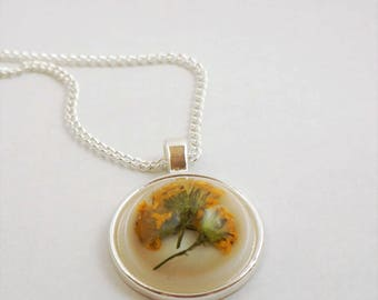 Yellow Wildflower Resin Pendant Necklace