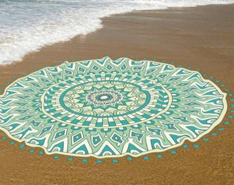 Green Mandala Beach Towels, Yoga mat, Cotton beach roundie towel