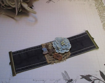 Fabric Cuff Bracelet marine shabby