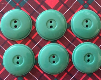 Vintage green 27 mm buttons - set of 6