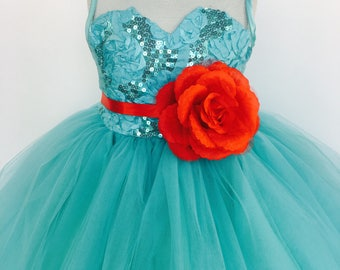 Aqua 4 Layer Sleeveless Tulle Gown Heart Shaped Top Red Floral Belt Bridesmaid Wedding Flower Formal Toddler Holiday Graduation Christmas