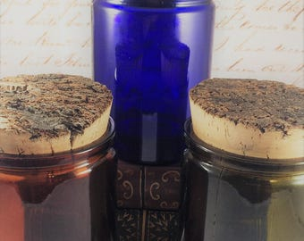 CHOOSE YOUR OWN Adventure: Custom-made Potion Jar Candles | 12oz style Wood Wick, Soy Fantasy Candles | Cork Lid Option | Blue Green Amber
