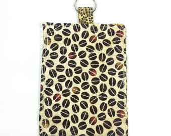Smartphone Sleeve Case Keyring Brown Beige Coffee Beans