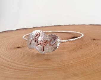 Hope Sterling Silver and Copper Bangle