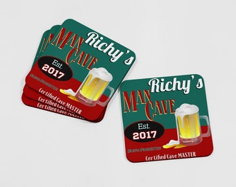 Man Cave Coaster Set, Personalized Coaster Set, Personalized Coasters, Coaster Set, Home Bar, Custom Coasters, Drink Coasters