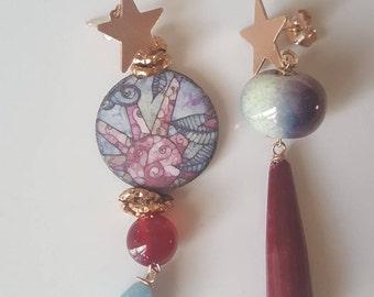 Caltagirone asymmetrical earrings