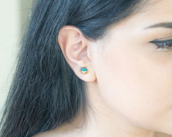 Turquoise Stud Earrings - Semi Precious Stone Earrings - Simple Stud Earrings - Stud Earrings Sterling Silver - Stud Gemstone Earrings