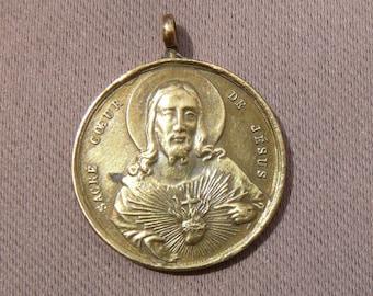 Jesus Sacred Heart - French Antique Religious Medal Pendant - June 1874 Paray Le Monial Pilgrimage Souvenir - Sacred Heart Necklace