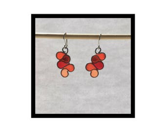 Multi-Colored Epoxy and Stainless Steel Wire Earrings - Reds