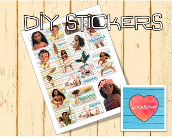 Moana Stickers You print party labels