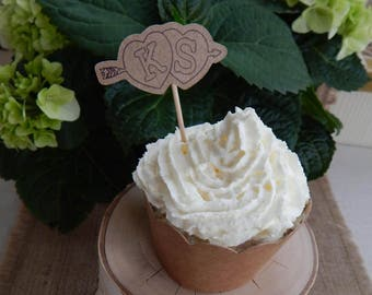 10-100 pc. Personalized Favors, Custom Initial Bridal Shower Cupcake Toppers, Chic Bridal Shower, Girly Bridal Shower, Heart Cupcake Toppers