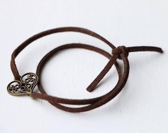 Bracelet leather heart