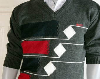 Italian Vintage Hugo Boss Sweater Men's, Charcoal Gray V-Neck Sweater, Gray Red Dark Blue White Sweater, V-Neck Pullover: Size L (40-42 US)