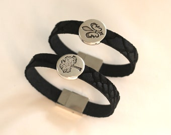 Leather Bracelet black reptile print with meaningful slider