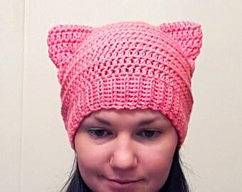 PussyHat, PussyCat Hat, Pink Pussycat Hat, PussyHat Project, Pink Pussyhat, Kitty Hat, Cat Hat, Cat Beanie, Cat Ear Hat, Cat Ear Beanie