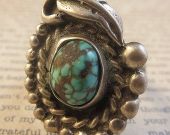 Vintage Old Pawn Turquoise Ring Sterling Silver 925 Size 4 1/2 Southwest Native American Navajo