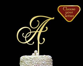 Letter A cake topper, monogram cake topper, monogram cake topper wood, cake topper iniziali, gold cake topper A, single letter gold, CT#051