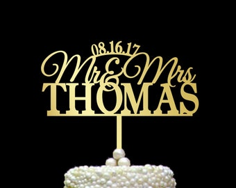 Surname cake topper, Mr and Mrs Cake Topper with date, Custom Wedding Cake Topper, Personalized Cake Topper wood, gold Cake Topper, CT#071