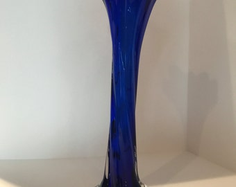 Vintage Cobalt Blue Blown Glass Bud Vase - Tall