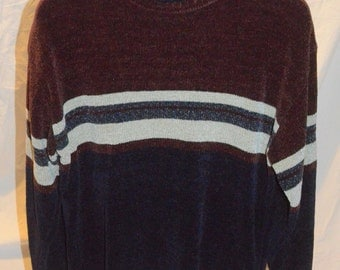 Vintage Mens 90s Striped Chenille Pullover Sweater - Size Large