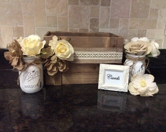 Rustic wedding card holder/Burlap wedding decor/Neutral toned wedding decor/Wooden wedding card box/Rustic wedding set