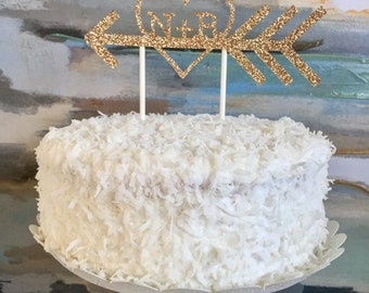 Personalized Arrow Wedding Cake Topper