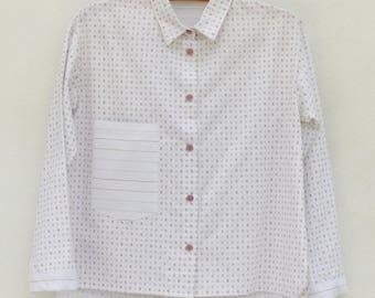 Shirt Crop top T38 - OOAK - recycled fabrics