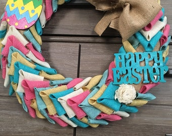 Bright Easter Pastel Easter Egg Rustic Burlap Wreath with Sola Flower