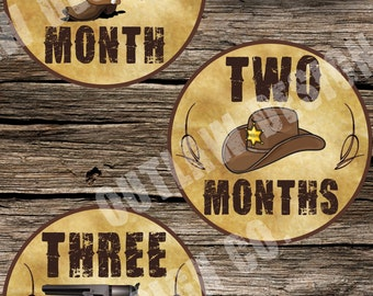 Baby Boy Monthly Milestone Markers Printable Instant Download Western Cowboy Horses Outlaw Wild West Sheriff Country Rugged Photo Prop