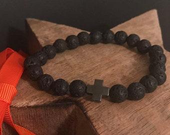 Black Cross Lava Men's Bracelet