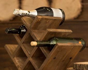 wooden wine rack, wood wine holder, rustic wine rack, wine cube, tabletop wine rack, oak wine rack, rustic wine rack, father's gift