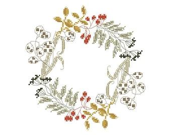 PDF cross stitch pattern, modern cross stitch, counted cross stitch wreath, herbal wreath pattern, autumn herbs pattern, diy embroidery