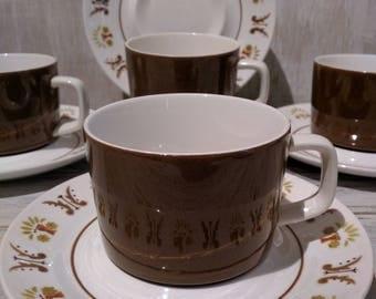 Vintage Mikasa Mediterrania Rick Rack Tea Cups & Saucers