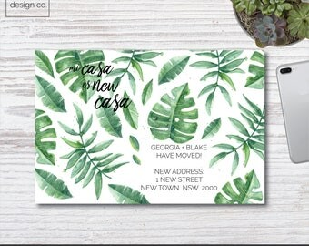 Instant Digital Download - Moving Announcements - Tropical Leaves - Printable - New House Address