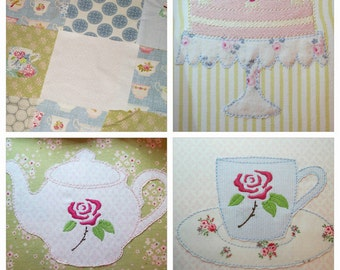 Embroidery files set 13 x 10 - tea in the garden