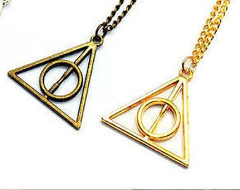 Triangle Harry Potter Necklace Pendant, Deathly Hallows Necklace, Harry  Potter Necklace