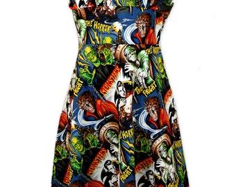 Rockabilly Dress Retro Dress 1950s halter dress Movie Monsters