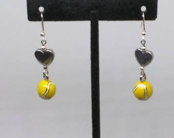 Yellow tennis back with silver heart charm dangle earrings.  2 inches long. FREE SHIPPING