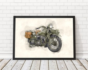 Military motorcycle poster, Motorcycle watercolor, Military bike poster, Vintage bikes, Gift for him, Motorcycle poster, PRINTABLE poster