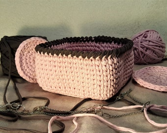 Square crochet basket, t-shirt basket, square basket, box, interior basket