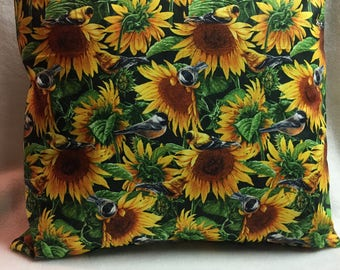 Birds and Sunflowers, Pillow 16 x 16 (#017)