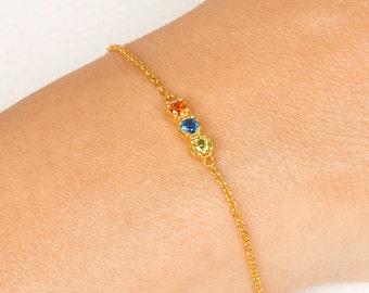 Birthstone Bracelet, Mothers Bracelet, Bridesmaid Gift, Personalized Bracelet, Custom Bracelet, Rose Gold Bracelets, Yellow Gold Bracelets