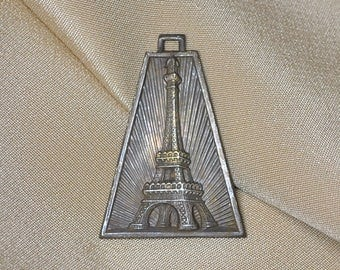 Vintage French Art-Deco Eiffel Tower Medal Pendant Raw Brass 1930's 1 Piece 454J