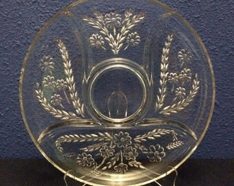 Vintage Pressed Glass Five Part Divided Relish Tray