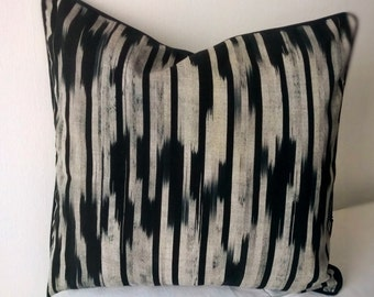 Black Ikat pillow cover Decorative pillow Accent pillow Ikat pillow case Black Ikat Tajik Ikat Central Asian
