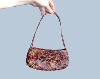 Vintage Brown Pouche, vintage Mini Pochette, Brown floral bag, mini bag, vintage brown clutch, cluch bag handle clutch vitage clutch