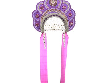 "Russian Traditional Folk Costume - Headdress Kokoshnik ""Elena"" purple #424"