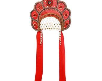 "Russian Traditional Folk Costume - Headdress Kokoshnik ""Elena"" red #388"