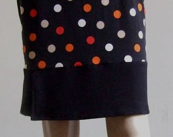 Straight skirt in beautiful jersey with polka dots and its flounce wallet
